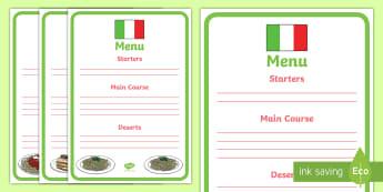 Italian Restaurant Role Play Display Banner - Italian restaurant, role play, menu, writing frame, writing template, writing aid, pasta, lasagne, food, Italian culture, Italy, spaghetti, menu