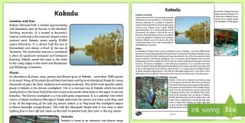 Kakadu National Park Fact Sheet - Australian park, Australian geography, Australian landmark, Aboriginal history, Aboriginal lifestyle
