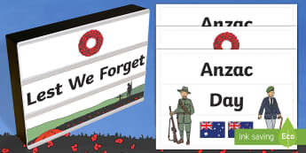 Anzac Day Light Box Inserts - Australia, EYLF, Topics and events, celebrations, anzac day, light box inserts, F - 2, signs and lab