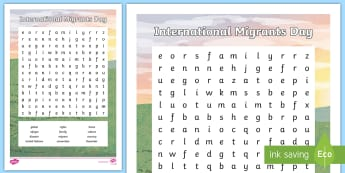 International Migrants Day Word Search - unicef, rrsa, rights, immigration, refugee,Scottish