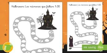 Halloween: Los números que faltan 1 30 Ficha de actividad - noche de brujas, número, contar, aprender a contar, actividades
