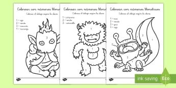 Colorear con números: Monstruos  - colorear con números, colores, colorea, colorear, pintar, monstruo, monstruos, monstruoso, monstrú