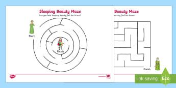 Sleeping Beauty Differentiated Maze Activity Sheet Pack - mazes , worksheet