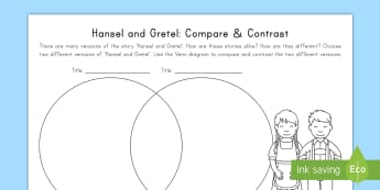 Hansel and Gretel: Compare and Contrast Activity Sheet - ELA, Common core, Compare, Contrast, Hansel, Gretel, worksheet, traditional tales, fairy tales.