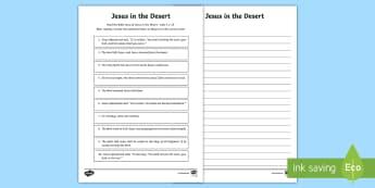 Jesus in the Desert Ordering Activity Sheet - Australian Requests, jesus in the desert religion activity, jesus in the desert, sorting activity re