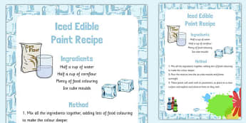 Iced Edible Paint Recipe - art, design, technology, food, early years, KS1