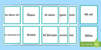 An Aimsir Láithreach Ceisteanna agus Freagraí Matching Cards