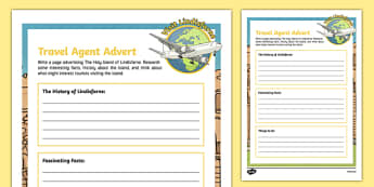 Lindisfarne Travel Agent Writing Worksheet / Activity Sheet , worksheet