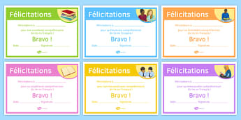 French End of Year Reading Comprehension Award Certificate-French