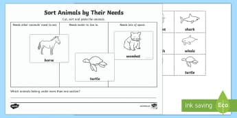 Sort Animals By Their Needs Activity Sheet-Australia - Australian Curriculum Biological sciences, animals need, wants and need, sorting by need, Australian