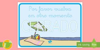 * NEW *Cartel - Cerrado por vacaciones - Vacación, vacaciones, viaje, viajes, mundo, el mundo, turismo, turista, turístico, turística, rol