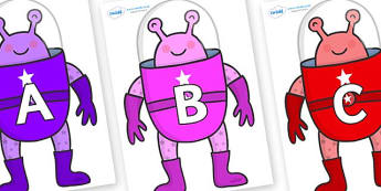 A-Z Alphabet on Aliens - A-Z, A4, display, Alphabet frieze, Display letters, Letter posters, A-Z letters, Alphabet flashcards