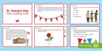 KS2 St. George's Day Maths Challenge Cards - KS2 Saint George's Day (23rd April 2017), maths, challenge cards