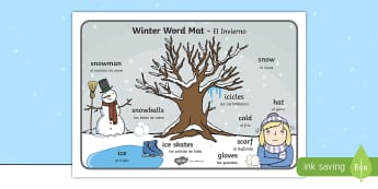 * NEW * Winter Word Mat - English / Spanish  - Winter Scene Word Mat - winter, vocabulary mat, word mat, key words, topic words, word poster, vocab