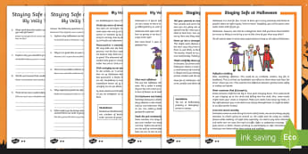 Staying Safe at Halloween Differentiated Reading Comprehension Activity English/Afrikaans - October, celebrate, pumpkin, witch, ghost, reading, Oktober, EAL