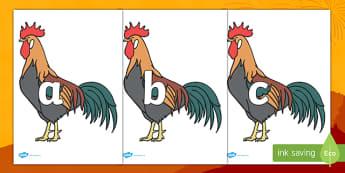 Frise alphabétique : Le coq du Nouvel An chinois - lettres, alphabet, chine, nouvelle année, lecture, lire, cycle 1, affichage, poster, affiche