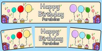 Happy Birthday Display Banner Portuguese Translation - portuguese, happy birthday, display banner, display, banner
