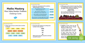 Year 6 Place Value Number Problems Maths Mastery Challenge Cards - year 6, place value, number problems, number, maths, mastery, mathematics, challenge, challenge cards