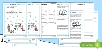 Winter Differentiated Reading Comprehension Activity English/Hindi - Comprehension, differentiated worksheets, season, reading, comprehension questions, pack, animals, e