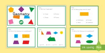 3rd Grade Geometry Online Assement Practice Activity - Common core, math, geometry, assessment, 3rd Grade Geometry