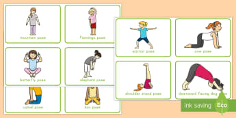 Yoga Movement Cards - exercise, gross motor, gross motor skills, yoga poses, large muscle exercises