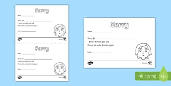 Saying Sorry Activity Sheet, psed early years