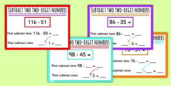 Subtract Two Two-Digit Numbers Using Place Vlaue Mixed Maths Challenge Cards - place value, stage 6, advanced additive, nz maths, numeracy project