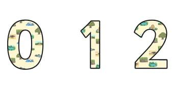 Habitats Display Numbers - habitats, habitats display, habitats themed numbers, habitats numbers, habitats 0-9 numbers, habitat themed numbers, ks2 display