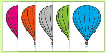 Editable Hot Air Balloons (Stripes) - Hot Air balloon, balloons, editable, display balloon, A4