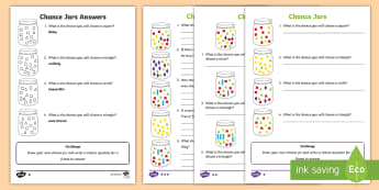Year 2 Chance Jars Differentiated Activity Sheets - Australian Curriculum Statistics and Probability, Chance, ACMSP047, Year 2, likely, unlikely, certai