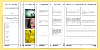 The Existence of God Activity Sheets - God, Proof, disprove, evidence, creation, suffering, omnipotence, benevolence, free will, worksheets