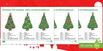 Christmas Tree Counting Activity Sheet - English/German  - EAL, German, Christmas Tree Counting Worksheets - christmas, coutning, maths, chritmas, countng, cou