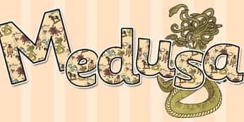 Greek Mythical Creatures Display Lettering Medusa - lettering