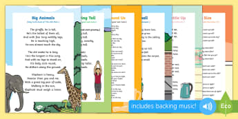 Height, Length, Weight, and Capacity Songs and Rhymes Resource Pack - Maths, Mathematics, size, high, low, long, small,  heavy, light, shape space and measure