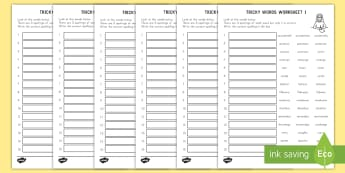 Tricky Words Spelling Worksheet / Activity Sheets - tricky words, English, spelling, worksheets