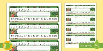 Etiquetas de mesa: La liebre y la tortuga - caligrafia, números, identificación de material, cuentos tradicionales, cuentos con valores