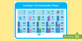 Counting to 20 with Number Shapes Display Poster - numicon, Counting to 20 with Base 10 Display Mat - counting to 20, counting, count, base 10, display