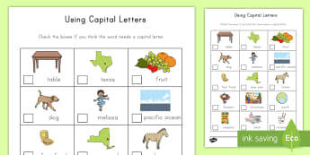 Using Capital Letters Activity - capital letters, capitalization, activity, proper names, grammar, sentence structure, word work, cen