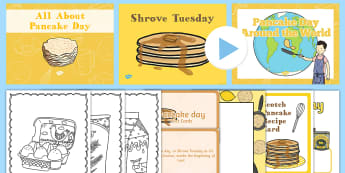 Pancake Day CfE First Level Resource Pack - topic pack, shrove tuesday, easter, RME, pancake day,Scottish