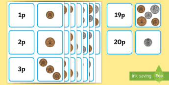 Money Matching Cards to 20p Mixed New Coins - money, coins, maths