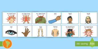 Parts Of The Body Communication Cards US English/Spanish (Latin) -  flashcards, communicate, discussion, arm, back, tummy, hands, my head hurts,  spanish, eal