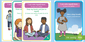 I Can Calm Myself Down A4 Display Poster English/French - EAL, translation, SEN, behaviour management, autism, autistic, calming strategies, think what I am s