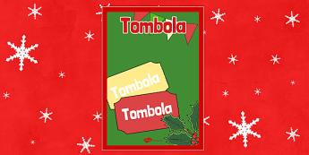 Christmas Themed Tombola Poster - christmas fair, display poster, display, poster, tombola