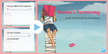 Bloom's Taxonomy Evaluating Questions PowerPoint - Priority Resources, thinking skills, p4c, philosophy, philosophy for children, deeper thinkings, mas
