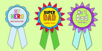 Father's Day Printable Badges Polish Translation - polish, fathers day, printable, badges