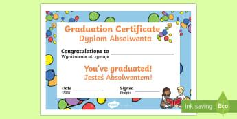 School Graduation Certificate English/Polish - school, graduated, diploma, end, year,Polish-translation