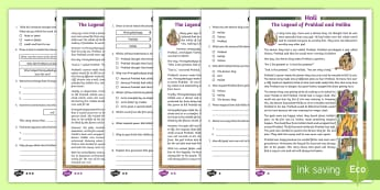 LKS2 Holi Differentiated Reading Comprehension Activity - Hinduism, prahad, holika, Hiranyakashyap, retrival, vocabulary, inference, content domains, understa