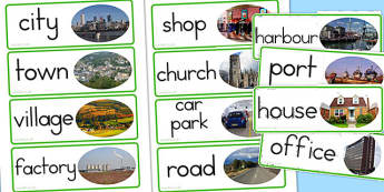 Human Geography Word Cards Man Made - australia, geography, cards