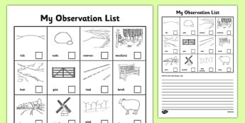 Local Walk Observation Sheets - Local area walk, countryside, reservoir, physical geography, features, check list, observation sheet