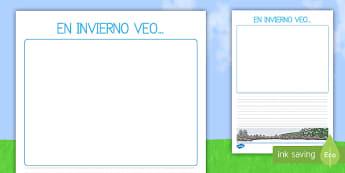 En invierno veo Pautas - El tiempo y las estaciones del año, proyecto, escritura, descripciones,Spanish